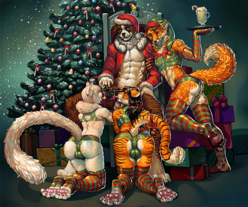 4_toes 5_toes anthro bulge canine cat christmas christmas_tree claws clothing dog ear_piercing feet felicesta feline fox fur furry girly gloves group hindpaw holidays humanoid_penis legwear licking male male/male mammal mavik nirvana orange_fur pawpads paws penis piercing pink_pawpads plantigrade rubyfox saint_bernard santa_suit soles stockings striped_legwear striped_stockings stripes testicles tiger toe_claws toes tongue tongue_out tree white_fur zane_darkpaw