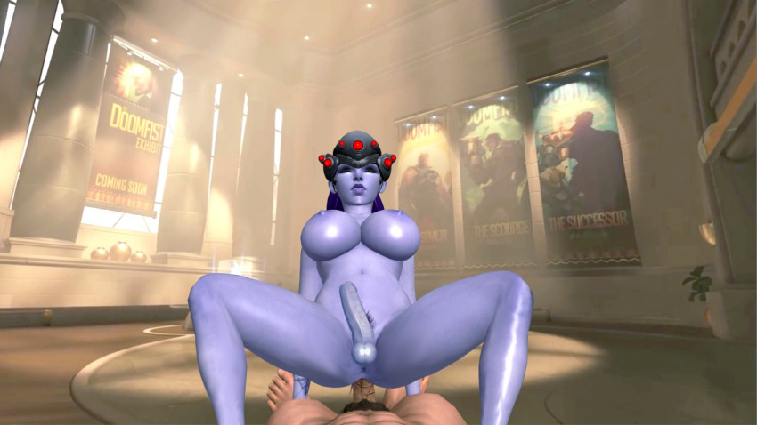 1_boy 1girl 3d anal anal_sex background blue_skin breasts closed_eyes cock cowgirl dickgirl dock female female_solo fucking futa futanari games girl head_gear head_wear human legs male nipples nude oral oral_sex overwatch penis posing purple_hair render riding sex soles solo_female toes video_games widowmaker xnalara xps