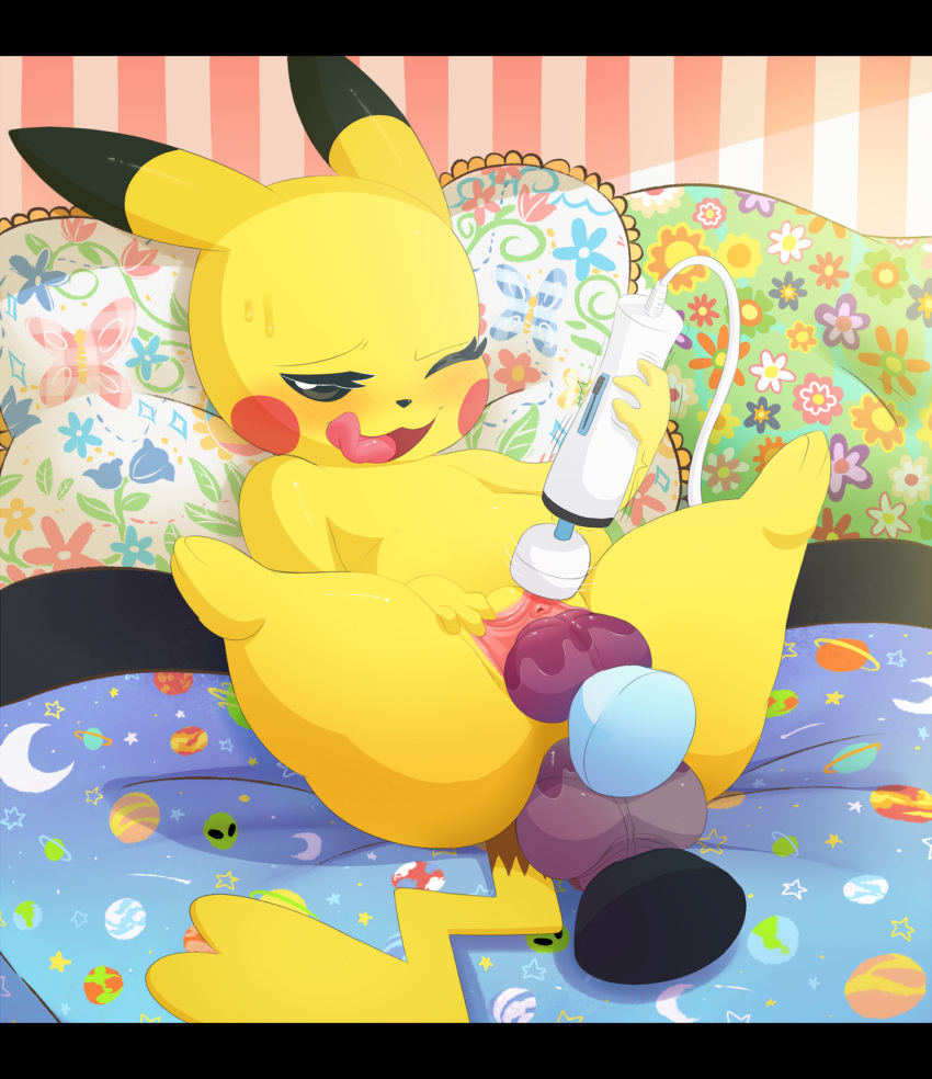 1girl 1girl 2017 3_toes anal anal_penetration ass barefoot bed bedroom black_nose blush clitoris dildo double_penetration feral high_res long_ears lying mammal manene masturbation naughty_face nintendo nude on_back one_eye_closed open_mouth orgasm penetration pikachu pillow pokémon pussy pussy_juice rodent sex sex_toy spread_legs spread_pussy spreading sweat toes tongue tongue_out urethra vaginal vaginal_penetration vibrator video_games wink