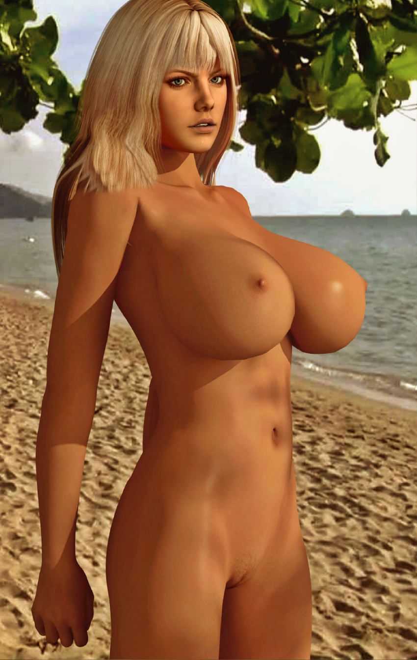 1girl 3d beach big_breasts big_nipples blonde blonde_hair breasts dahlia female_solo games green_eyes human large_breasts legs nipples nude posing pussy render shaved_pussy solo_female suddeen_attack_2 sudden_attack video_games xnalara xps