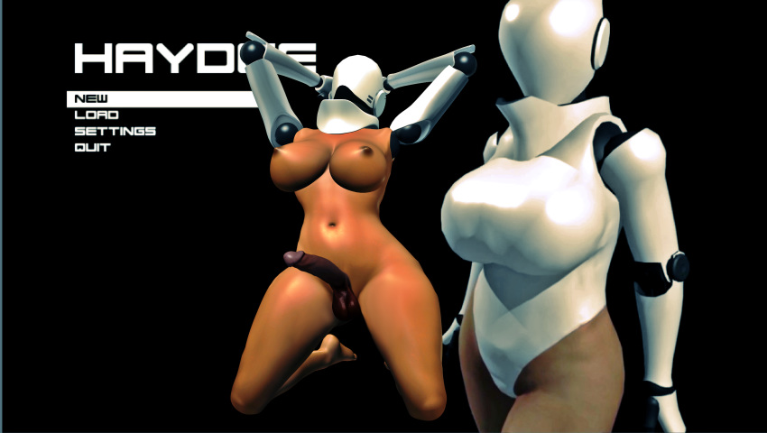 1girl 3d background breasts cock cyborg dick dick_girl female_solo futa futanari games haydee haydee_(game) legs nipples nude penis posing render robot shemale soles solo_female testicles toes video_games xnalara xps
