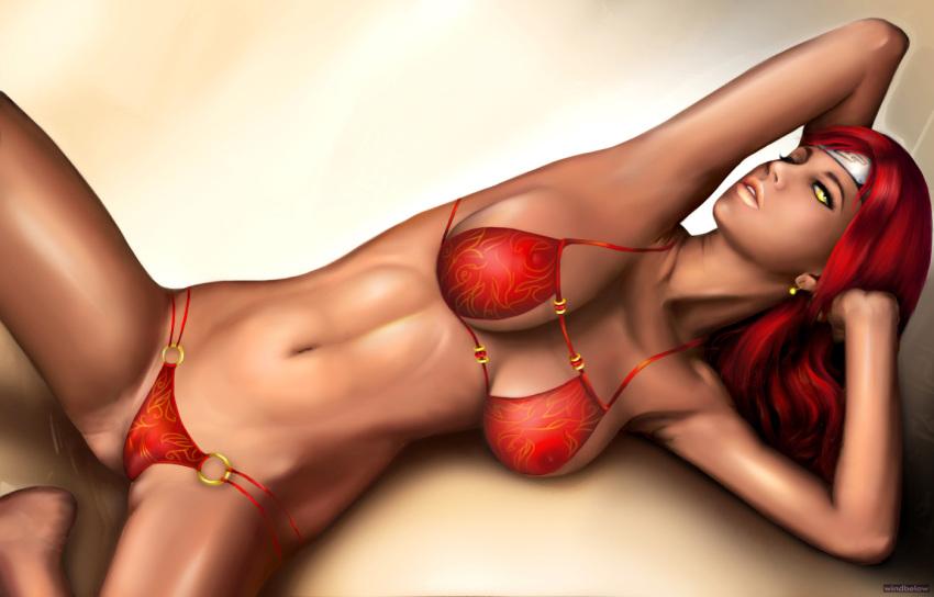 bikini karui naruto_shippuuden red_hair solo windbelow_(artist)
