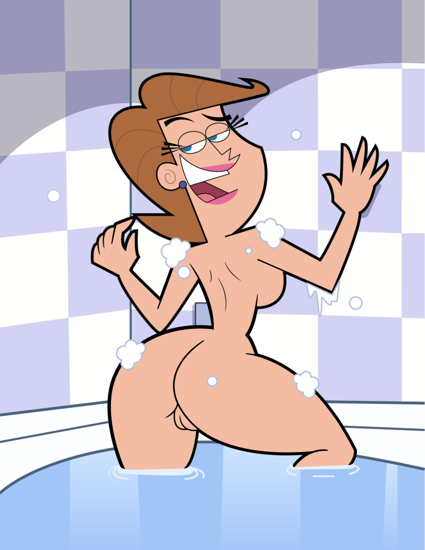 ass bath brown_hair bubble eyebrows eyelashes fairly_oddparents lipstick makeup milf mrs._turner naughty_face nude open_mouth teeth timmy's_mom tongue toonatiu vaginal