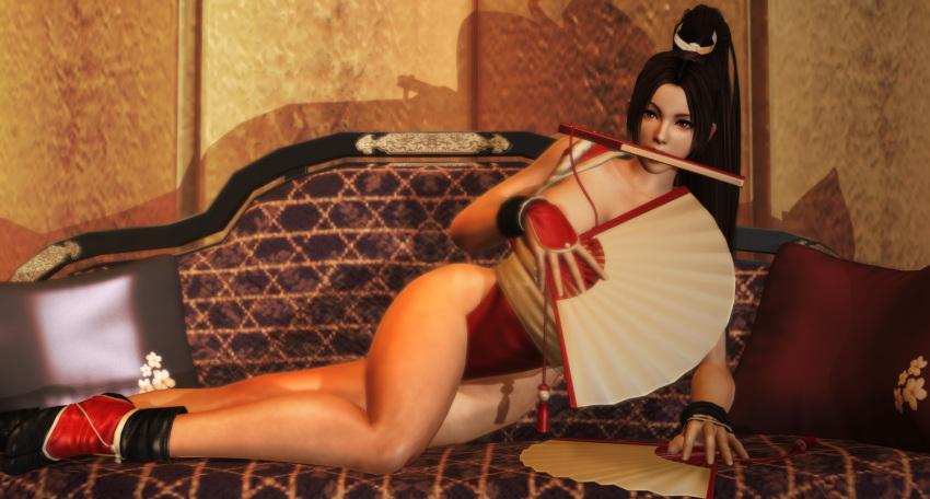 1girl 3d big_breasts brown_hair convenient_censorship imaginarydigitales king_of_fighters long_hair mai_shiranui pinup ponytail xnalara