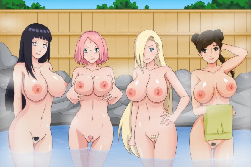 4girls bath breast hinata_hyuuga ino_yamanaka naruto nude pubic_hair pussy sakura_haruno shablagooo spa tenten uncensored water