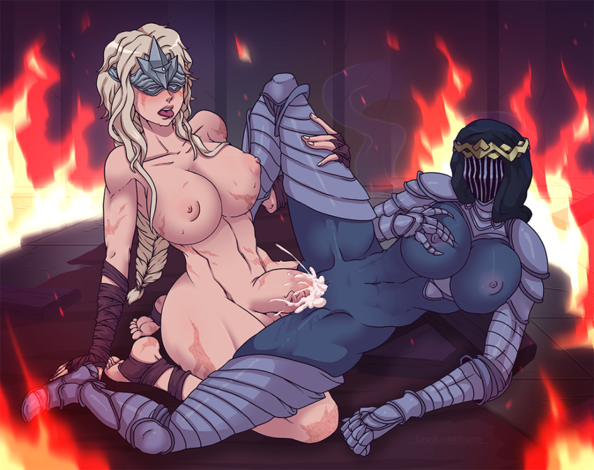 2_girls areola big_breasts blonde_hair braid breast_grab breasts cum cum_explosion cum_in_pussy dancer_of_the_boreal_valley dark_souls dark_souls_iii fire_keeper from_software furanh futanari futanari_with_female helmet leg_grab long_hair lying nipples on_side open_mouth pussy sex sitting souls_(from_software) spread_legs thighs tongue tongue_out vaginal