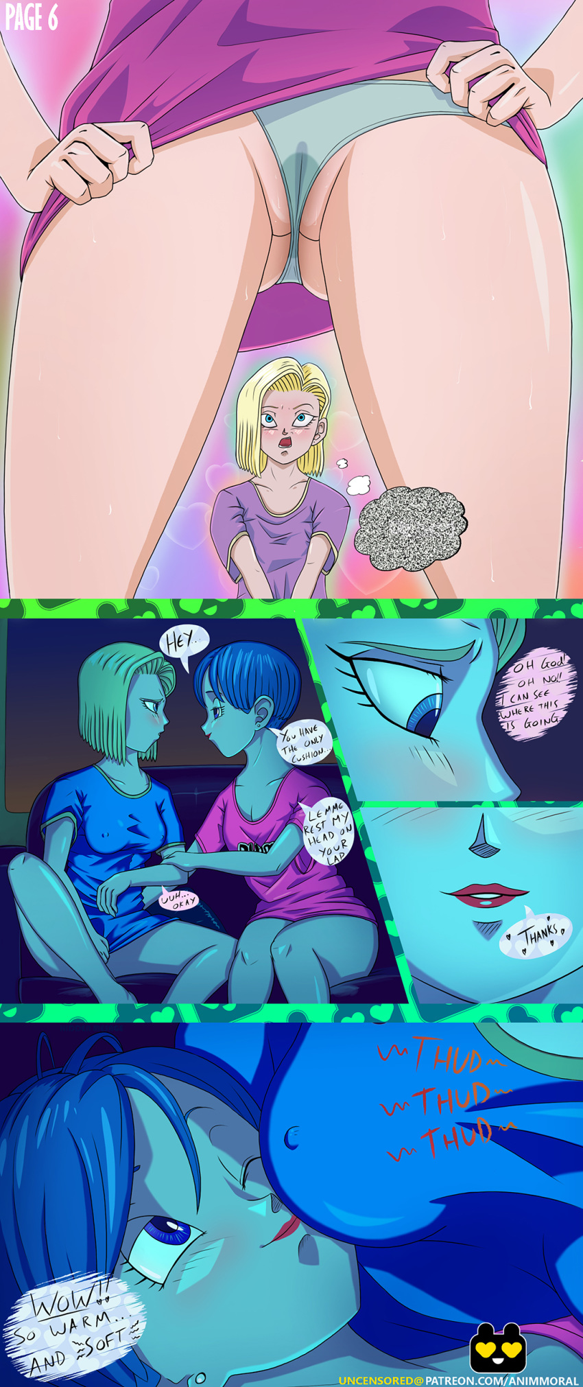 2girls android_18 animmoral bulma_briefs dragon_ball_super dragon_ball_z panties