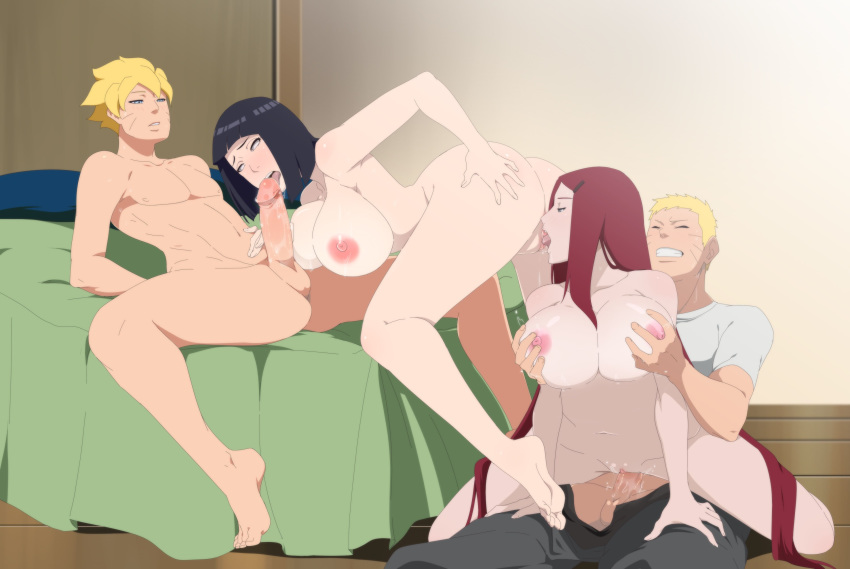 2_girls 2boys barefoot bisexual breasts clothed_sex feet fellatio grandmother_and_grandson hinata_hyuuga incest lexus_(artist) mother_&_son multiple_boys multiple_girls naruto naruto_uzumaki nipples oral penis pussy pussylicking sex uncensored uzumaki_boruto uzumaki_kushina vaginal