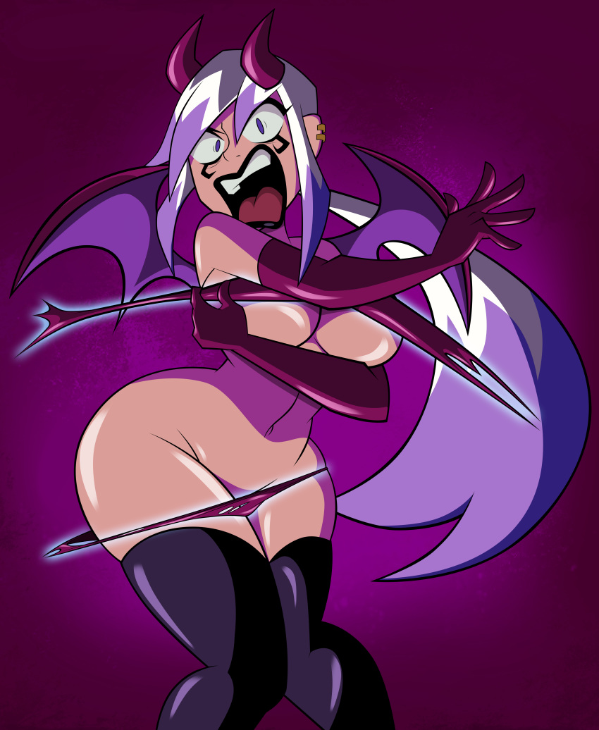 ben_10 ben_10:_omniverse big_breasts breasts charmcaster cleavage cosplay demon demon_horns demon_wings embarrassed female funny grimphantom grimphantom_(artist) halloween highlights horns magic purple_eyes solo surprised underboob wardrobe_malfunction white_hair wings
