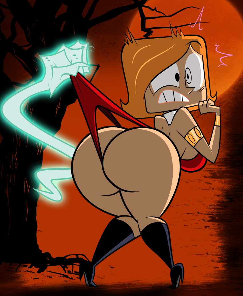 ass big_ass big_breasts boots breasts cosplay dat_ass debbie_turnbull female funny ghost grimphantom grimphantom_(artist) halloween looking_back robotboy sexy surprise surprised vampirella vampirella_(character) wedgie