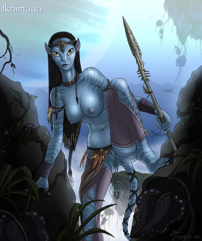 2011 avatar blue breasts ear_piercing earring female james_cameron's_a
