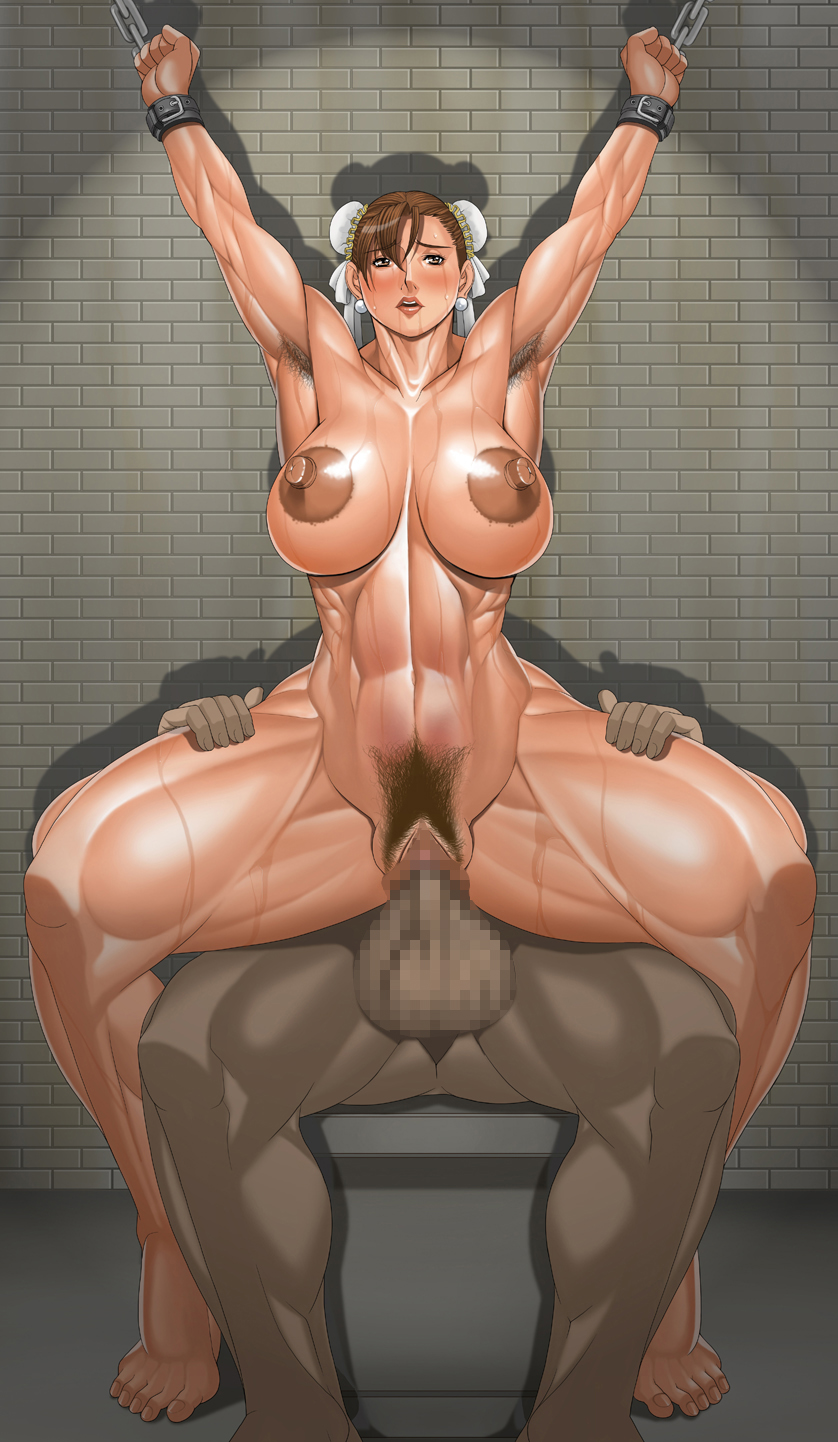 Female bodybuilder double penetration