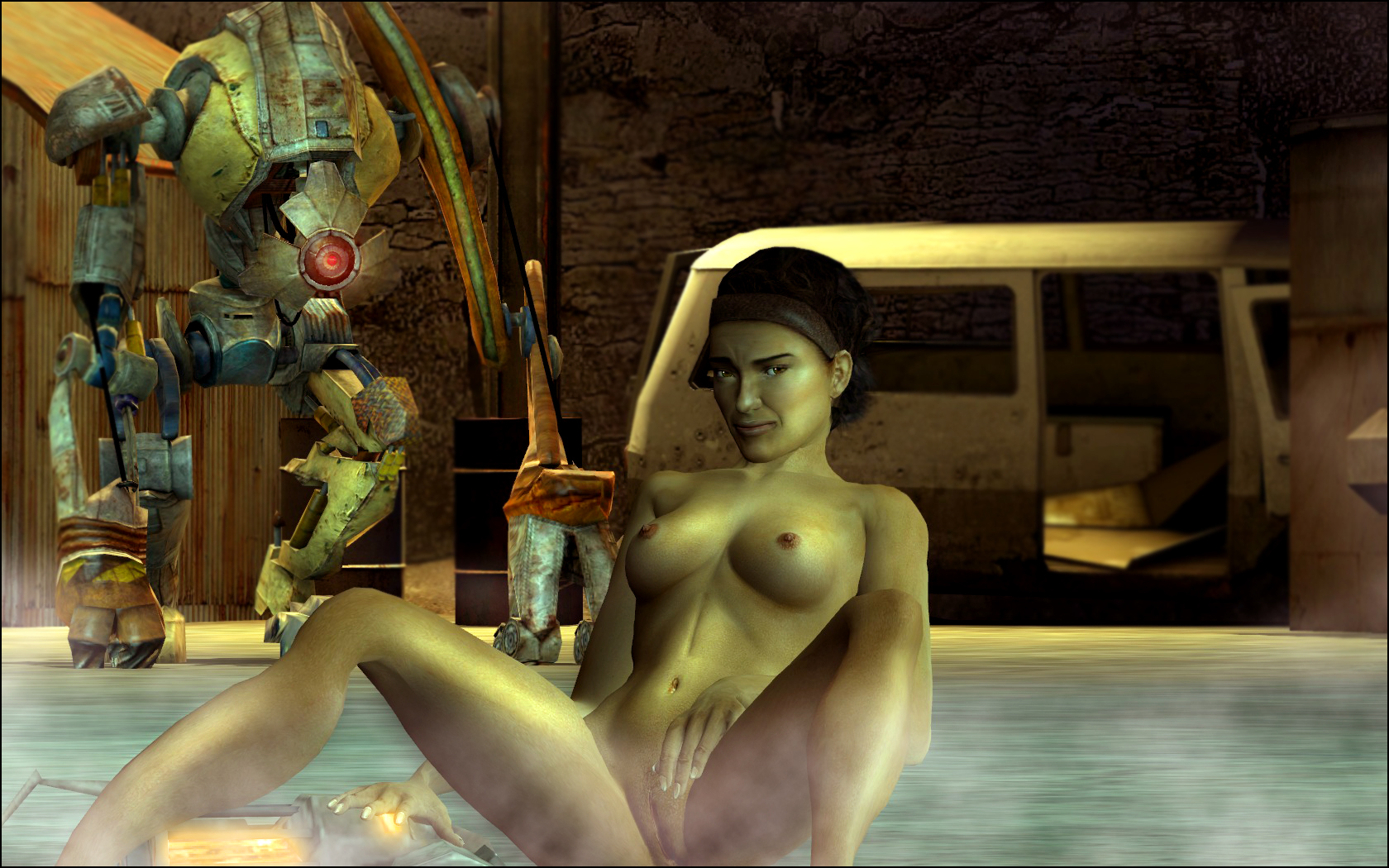 Life nude model half