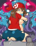 0k0j0 ass bestiality bike_shorts blue_eyes breasts brown_hair clenched_teeth egg egg_laying eggs haruka_(pokemon) huge_ass latex nintendo pokemon pregnant red_eyes saliva stomach_bulge sweat tears teeth tentacle tentacruel rating:Explicit score:16 user:Moonreker