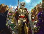 1girl 2015 anthro areola big_breasts breasts casual_nudity feline furry group hair link2004_(artist) male mammal nipples nude open_mouth outside penis pussy sky testicles town  rating:explicit score:7 user:furry_love