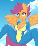 breasts cleavage friendship_is_magic my_little_pony non-nude scootaloo uniform wings wonderbolt rating:Questionable score:15 user:unknowmoney23
