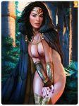 art black_hair brown_eyes cloak dc diana_prince gal_gadot heartbreakeh_(artist) kes_(artist) looking_at_viewer nude wonder_woman wonder_woman_(series) woods  rating:explicit score:15 user:shadownanako