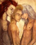 3boys axel blond_hair blonde_hair demyx kingdom_hearts lowres male multiple_boys red_hair riku silver_hair topless yaoi