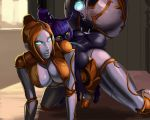 2girls aka6 all_fours anal anal_object_insertion areola ass black-skinned_female black_skin breasts dark-skinned_female dark_skin futanari genderswap league_of_legends nipples nude object_insertion orianna purple_hair robot robot_girl spread_legs veigar yellow_eyes yordle