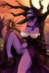 1girl 1girl 2015 absurd_res anthro anthrofied big_breasts bone breasts cleavage clothed clothing equine footwear friendship_is_magic furry gravestone hair hat high_res horn long_hair looking_at_viewer mammal my_little_pony nsfwdozer outside penetration purple_skin pussy smile staff tree twilight_sparkle_(mlp) unicorn vaginal vaginal_penetration witch_hat