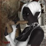 dark_elf drow elf fellatio oral testicle_grab