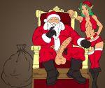 bag beard belt big_penis blue_eyes boots christmas christmas_elf elf green_eyes green_hair hat huge_penis john_persons midriff old_man penis red_thighhighs santa_claus shorts sitting stockings testicle testicles the_pit thighhighs throne vest white_hair