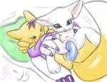 af-js af-js_(artist) digimon eyelashes furry gatomon renamon
