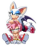 1girl amy_rose annoyed anthro bat blush breasts breasts_on_head clothing coolblue eyelashes footwear furry gloves hairband half-closed_eyes hands_on_face hedgehog high_heels levitating mammal nipples rouge_the_bat sega shoes simple_background sitting smile spreading sweat
