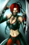1_female 1_girl 1_human blades bloodrayne clothed collar female female_human female_only fingerles_gloves green_eyes hair human human_only looking_at_viewer red_hair short_hair smile solo standing vampire weapon