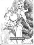 2008 dc giantess giganta godzilla godzilla_(series) julius_zimmerman_(artist) monochrome zimmerman