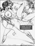 2008 ass big_breasts breasts dc giganta hair julius_zimmerman_(artist) lasso lipstick monochrome nipples pussy wonder_woman