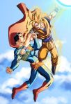 2boys bara battle cape clothed crossover dc dc_comics dragon_ball dragon_ball_z east_vs_west epic flying goku_vs_superman human male male_focus male_only manly mikemaluk multiple_boys muscle son_goku son_gokuu super_saiyan superman superman_(series) superman_vs_goku