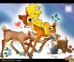 bambi bestiality crossover disney lisa_simpson orange_box orange_box_(artist) the_simpsons thumper yellow_skin