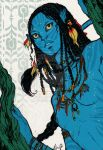 1_alien 1_female 1_girl alien avatar avatar_(movie) black_hair blue_skin bobbaji breasts feathers female female_alien female_na'vi hair james_cameron's_avatar long_hair na'vi neytiri nipples small_breasts solo standing yellow_eyes