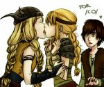 1boy 2girls arm_grab astrid_hofferson blonde_hair blue_eyes blush braid brown_hair closed_eyes featured_image freckles french_kiss from_side green_eyes hair headband headgear helmet hiccup hiccup_horrendous_haddock_iii how_to_train_your_dragon kiss kissing long_hair looking_at_another multiple_girls netorare open_mouth profile ruffnut short_hair simple_background tongue trembling upper_body white_background yuri