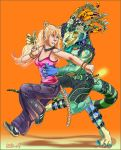 animal_ears colorful couple dancing female glowstick human kemonomimi male mariecannabis_(artist) nekomimi rave reptile scalie