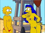 2girls areolae beach black_eyes blue_hair blue_pubic_hair breasts collarbone eyelashes lifeguard lisa_simpson marge_simpson multiple_girls navel necklace nipples nude nude_beach nude_on_beach pubic_hair public_nudity the_simpsons yellow_skin