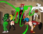 avengers bent_over bottomless carol_danvers doctor_strange embarrassing invisible_woman jennifer_walters marvel ms._marvel panties_down pants_down red_ass she-hulk spank spider-woman storm sue_storm tagme unknown_artist wedgie