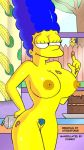 1boy 1girl areolae big_breasts blue_hair blue_pubic_hair breasts cake chocolate cosmic_(artist) day eyebrows eyelashes fence food frosting frosting_on_body frosting_on_finger glasses hair index_finger_raised indoors kitchen marge_simpson milhouse_van_houten nipples nude outdoors pubic_hair the_simpsons tree voyeur window yellow_skin