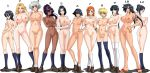 6+girls adjusting_hair arms_behind_back ass black_hair bleach blonde_hair blue_legwear blush bracelet braid breast_hold breast_suppress breasts covering covering_breasts crossed_arms dark_skin duplicate everyone female flat_chest glasses hair_ornament hair_up hairclip hand_on_hip hands_on_hips huge_breasts inoue_orihime isane_kotetsu ise_nanao jewelry kagami kiyone_kotetsu kneehighs kotetsu_isane kotetsu_kiyone kuchiki_rukia kukaku_shiba kurotsuchi_nemu ladies large_breasts lineup long_hair looking_back matsumoto_rangiku mole multiple_girls nanao navel nemu_kurotsuchi nipples nude orange_hair orihime orihime_inoue ponytail pubic_hair purple_hair pussy rangiku_matsumoto retsu_unohana rukia_kuchiki shadow shiba_kuukaku shihouin_yoruichi shoes sideboob silver_hair smile socks soifon stockings sui-feng take_your_pick tattoo thigh_gap thighhighs twintails uncensored unohana_retsu utility_pole_spirit white_legwear wink yoruichi yoruichi_shihouin