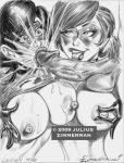 2009 black_and_white cum cumshot disney helen_parr incest julius_zimmerman_(artist) monochrome pixar the_incredibles violet_parr zimmerman