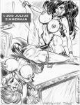 2011 disney freckles julius_zimmerman_(artist) kim_possible monochrome ron_stoppable shego