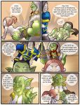 ass ass_grab bent_over blue_eyes breasts brown_hair comic cum_inside embarrassing erection gnome goblin green_skin hairless_pussy kissing nude orc penis ponytail pussy red_hair shia_(artist) speech_bubble text thrall varian_wrynn world_of_warcraft