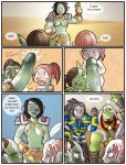 blue_eyes breasts brown_hair comic cum cum_inside embarrassing erection futa gnome goblin green_skin hairless_pussy long_hair nude orc penis ponytail pussy red_hair shia_(artist) short_hair speech_bubble text thrall varian_wrynn world_of_warcraft