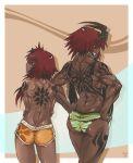 2girls alexi_(petite-emi) ass back badass bikini dark_skin demon_horns grin hair hannah_(petite-emi) horns long_hair looking_back monster_girl multiple_girls muscle original petite-emi red_hair shorts smile swimsuit tattoo topless twin_tails twintails