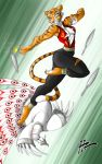 avian bird claws feline female fight furry hzblunte hzblunte_(artist) kung_fu_panda kung_fu_panda_2 lord_shen master_tigress peacock tiger