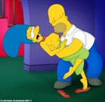 breasts cartoon_avenger_(artist) homer_simpson marge_simpson nipple_suck shoe_dangle single_shoe the_simpsons yellow_skin