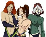 breasts erect_nipples huge_breasts jean_grey kitty_pryde marvel nipples rogue shadowcat small_breasts topless wam-inque x-men x-men_evolution
