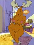 antlers becky big_breasts black_eyes breasts brown female furry horn johnny_bravo moose nipples pussy roary smile solo steven_stagg steven_stagg_(artist)
