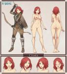 1girl arrow arrows ass bare_back bare_legs bare_shoulders barefoot blush bow_(weapon) breasts character_sheet crimeglass crysta_(character) dimples_of_venus dragon_age_2 elbow_gloves feet green_eyes hairless_pussy highres kneepits legs mound_of_venus navel nipples nude original pussy red_hair scar short_hair simple_background small_breasts smile toes uncensored weapon weaponrn wink x-teal x-teal2 xteal_(artist)